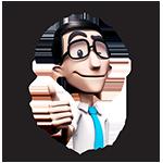 """Selo de site amigo do surdo, com o Hugo piscando olho direito e fazendo um sinal de """"positivo"""" com a mão direita. Contornando o Hugo, no topo do selo, está escrito """"Site Amigo do Surdo"""" e na base do selo, """"Acessível em Libras"""". Na lateral esquerda, a palavra """"Hand"""" e na lateral direita """"Talk"""", formando o nome da empresa Hand Talk. Fim da descrição."""